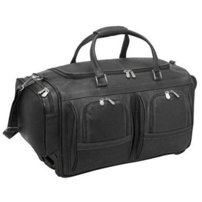 "Piel Leather Duffel 22"" with Pockets on Wheels"